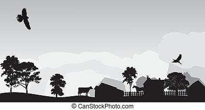 風景, 灰色, 木, 村