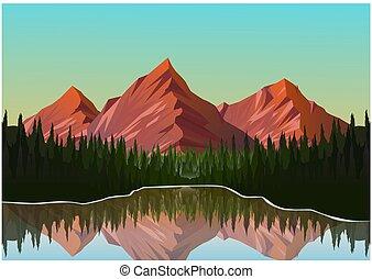 風景, 現実的, 山, イラスト
