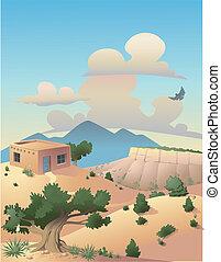 風景, 砂漠, イラスト