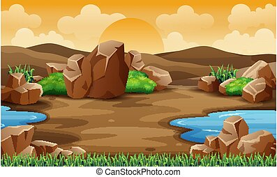 風景, 砂漠, 岩, 山