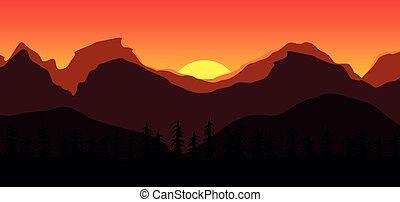 風景, 美しい, 日没, 山