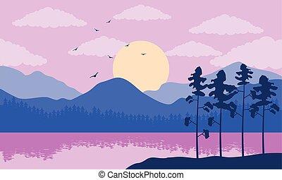 風景, 美しい, 湖, 紫色, 色, 現場, 木