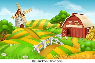 風景, 農場のフィールド, ベクトル, 背景, 3d