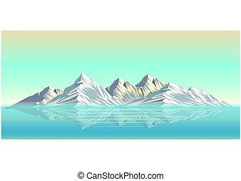 風景, 雪, イラスト, 山, 現実的