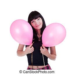 風船, ピンク, 彼女, 女性の 微笑, 幸せ, 手, 2