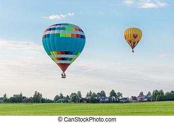 風船, 空気, 田舎, 夏, 上に, 暑い