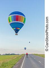 風船, 空気, 田舎, 道, 夏, 上に, 暑い