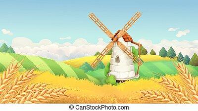 風車, 景色。, 小麦, 背景, ベクトル, field., 横