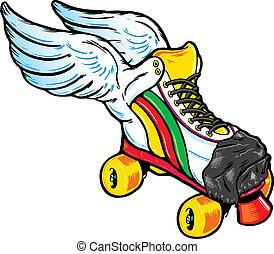 飛ぶ, スタイル, スケート, レトロ, ローラー