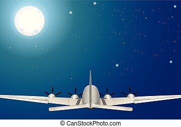 飛行機, 飛行, 夜