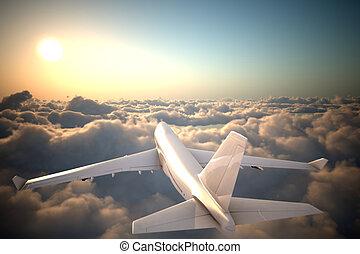 飛行機, 飛行, 雲, の上