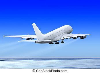 飛行, の上, 飛行機
