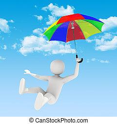 飛行, 傘, 3d, 人