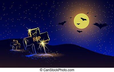 飛行, 墓, ビュー。, 上に, フルである, 旗, コウモリ, 夜, 月, バックグラウンド。, 墓地, ハロウィーン, ネオン