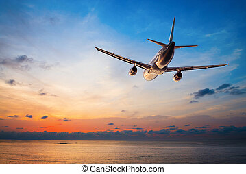飛行, 飛行機の日没