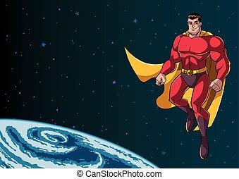 飛行, superhero, スペース