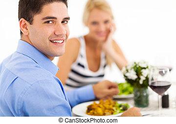 食事をする, 恋人, から, レストラン