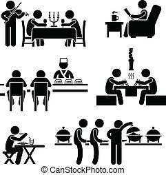 食物, カフェ, 飲みなさい, レストラン