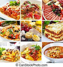 食物, コラージュ, イタリア語