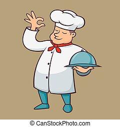 食物, シェフ, 届きなさい, トレー, 脂肪
