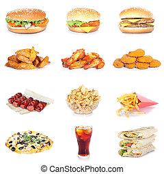 食物, セット, 速い