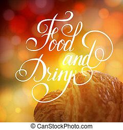 食物, ポスター, 飲みなさい, デザイン, 印刷である