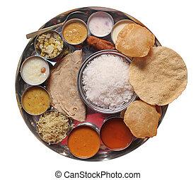 食物, 伝統的である, indian, 食事, 昼食