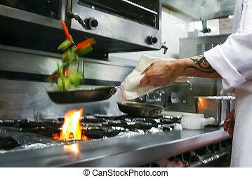 食物, 準備, レストラン