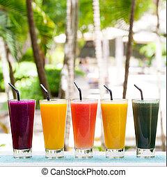 飲料, 各種組み合わせ, smoothies, ジュースをしぼる, 飲み物