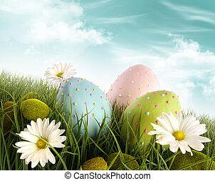 飾られた 卵, 草, イースター, ヒナギク
