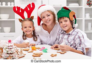 飾り付ける, 幸せ, クッキー, 家族の クリスマス