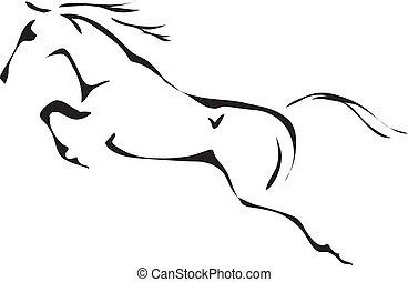 馬の跳躍は, ベクトル, 黒, 白, アウトライン