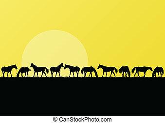 馬, 農場, イラスト, シルエット, 背景, 風景