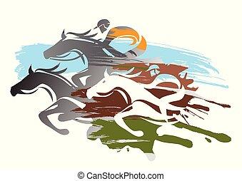 馬, racing.