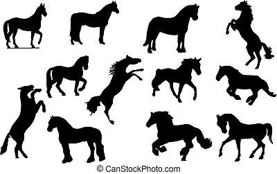 馬, silhouette.