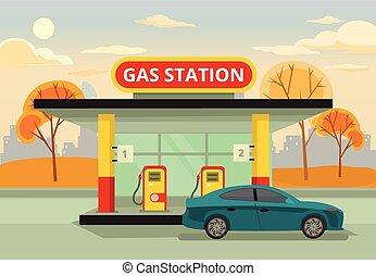 駅, ガス, ガソリン