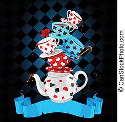驚き, お茶, ピラミッド, デザイン, パーティー