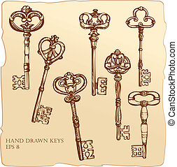 骨董品, セット, keys.