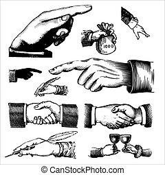 骨董品, 彫版, (vector), 手