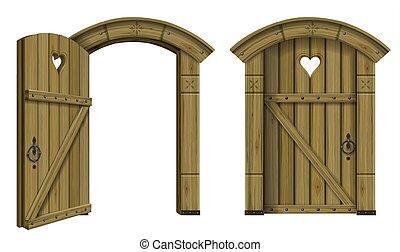 骨董品, 木製の戸, アーチ形にされる, ファンタジー