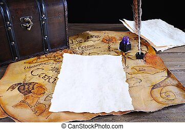 骨董品, 机, parchments