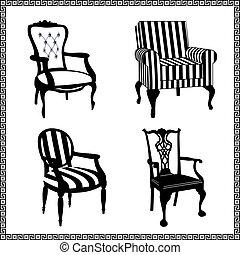 骨董品, 椅子, シルエット, セット