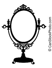 骨董品, 構造, シルエット, 鏡