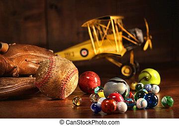 骨董品, 野球, 古い, 手袋, おもちゃ