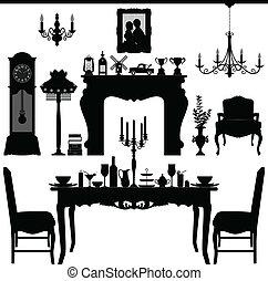 骨董品, 食事をする, 古い, 家具