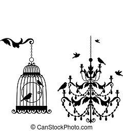 骨董品, 鳥かご, シャンデリア
