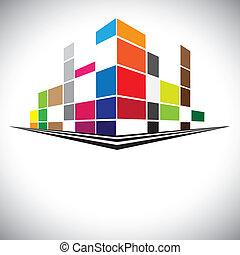 高い, のように, カラフルである, タワー, ブラウン, 青, オレンジ, 紫色, 超高層ビル, スカイライン, 建物, 通り, 色, 都市, 赤