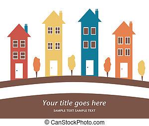 高い, カラフルである, houses., 横列