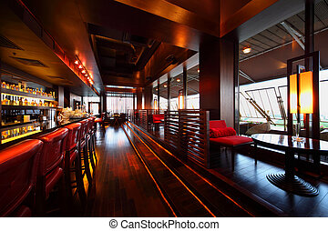 高い, 席, 空, 椅子, テーブル, 横列, カウンター, 赤い棒, 保温カバー, レストラン