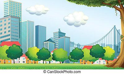 高い, 建物, 木